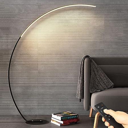 Lampadaire LED, arc design lampadaire avec éclairage LED avec interrupteur à pied pour dimmable salon, chambre, bureau ou dortoir