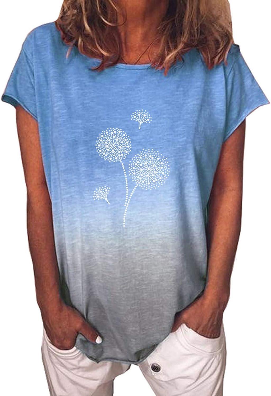 Aukbays Women Dandelion Print Tie Dye T Shirt Oversized Graphic Tee Funny Short Sleeve Crewneck Blouse Loose Tunic Tops