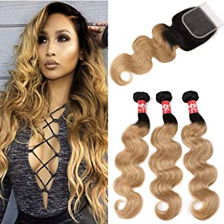 Haha Ombre Brazilian Hair Body Wave 3 Ombre Bundles With Closure 1B/27 Black to Honey Blonde Ombre Human Hair Bundles With Lace Closure (T1B/27,18 20 22+16)