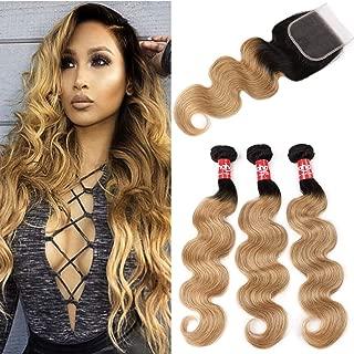 Haha Ombre Brazilian Hair 3 Bundles With Closure Ombre Human Hair Body Wave Ombre Bundles With Lace Closure (T1B/27,14 16 18+12)