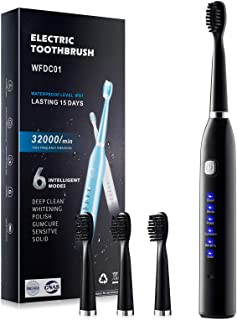 Electric Toothbrush, Adult Rechargeable Toothbrush, 6 Optional Modes and 2-Minute Built-in Timer, IPX7 Waterproof Rating, ...
