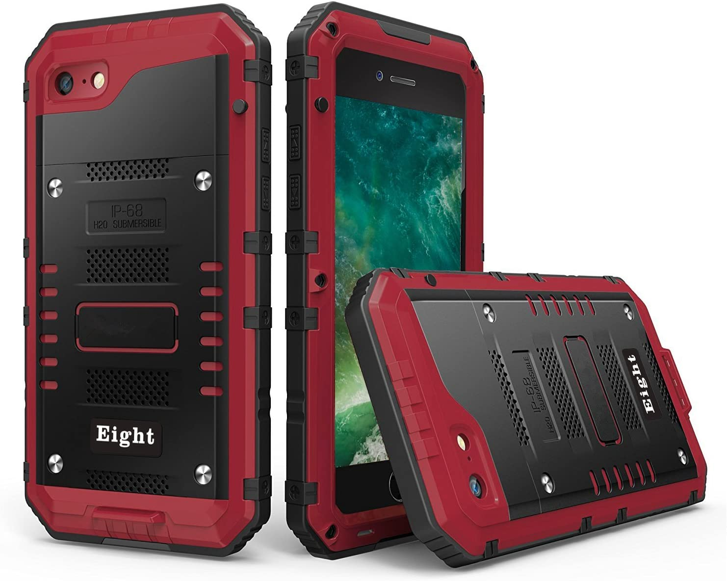 iPhone SE (2020) / 8 / 7 Waterproof Case Heavy Duty with Built-in Screen Full Body Protective Shockproof Drop proof Hybrid Hard Cover Military Outdoor Sport for Apple iPhone SE (2020) / 8 / 7 (Red)