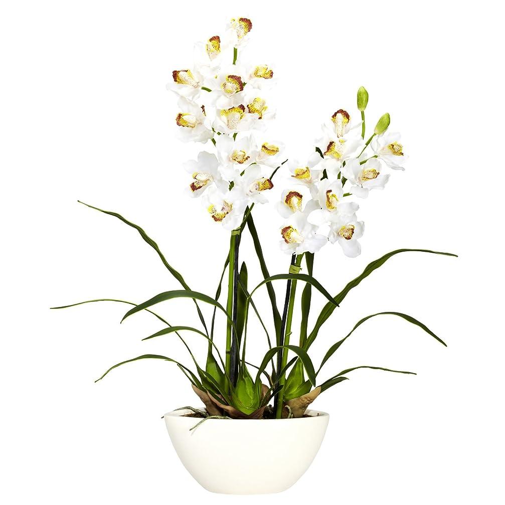 キャスト奨励します息切れほぼ天然 4803 シンビジウム ホワイト花瓶 シルクフラワー アレンジメント