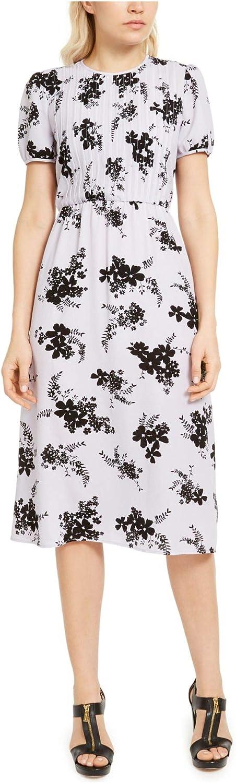 Michael Kors Womens Floral Print Tulsa Mall Baltimore Mall Purp Pintuck Dress Midi