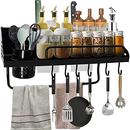 Easy to Assemble Eastore Life Spice Rack Organizer with 4 Hooks Wall Mounted Seasoning Shelf 15.7-Inch 304 Stainless Steel Storage Shelf for Kitchen /& Bathroom