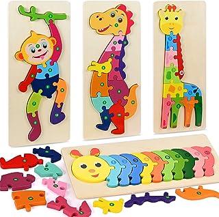 Fabu 4pz Puzzles de Madera Educativos para Bebé niños 2 3 4 5 6 años, Rompecabezas de Madera Bebe Puzzle Bebé Preescolar J...