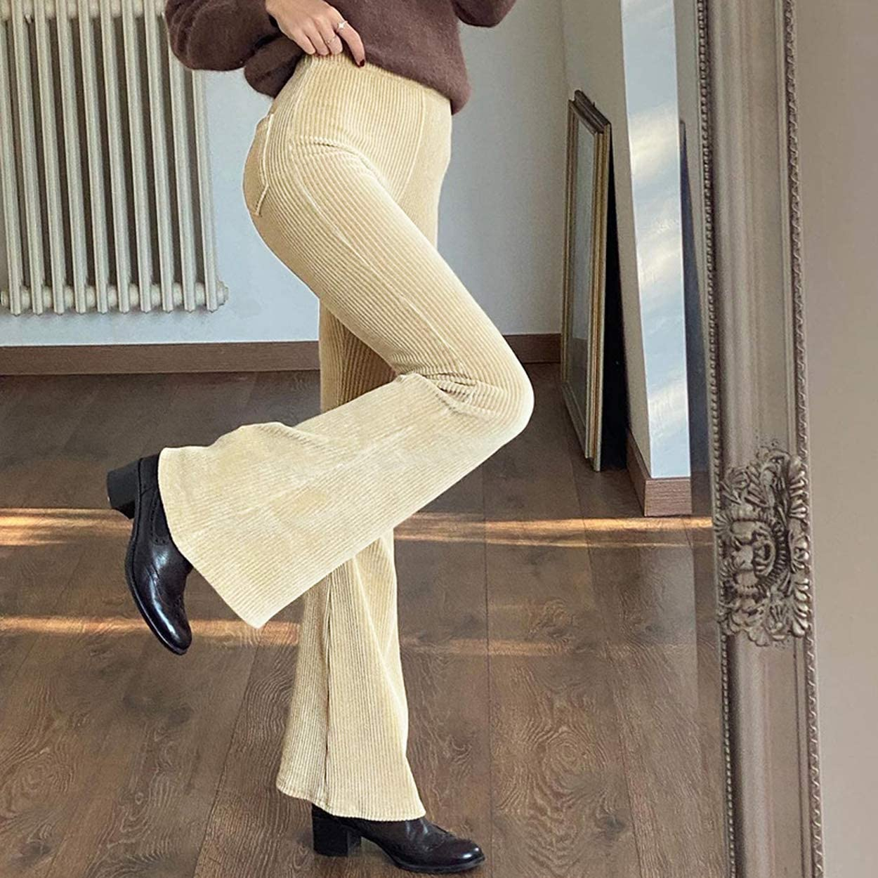 Women High Waist Corduroy Solid/Patchwork Pants Vintage Y2K Straight Leg Baggy Trousers Casual Hipster Streetwear