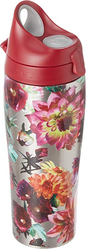 Tervis 1298873 Romantic Floral Stainless Steel Insulated Tumbler With Maroon Lid 24oz Water Bottle Silver