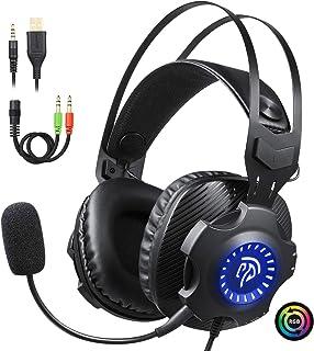 EasySMX PC Cascos Gaming, PS4 USB Auriculares con Mic y LED RGB de Ciclo Automático, Auriculares Gaming PC/PS4 con Orejeras Suaves Respirables y Silenciamiento para Laptop, Mac, PS3, Nintendo Switch