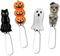 Supreme Housewares Mr. Spreader 4-Piece Halloween Hand Painted Resin Handle with Stainless Steel Blade Cheese Spreader, Assorted Design Includes Halloween Pumpkin, Black Cat, Ghost, Skull