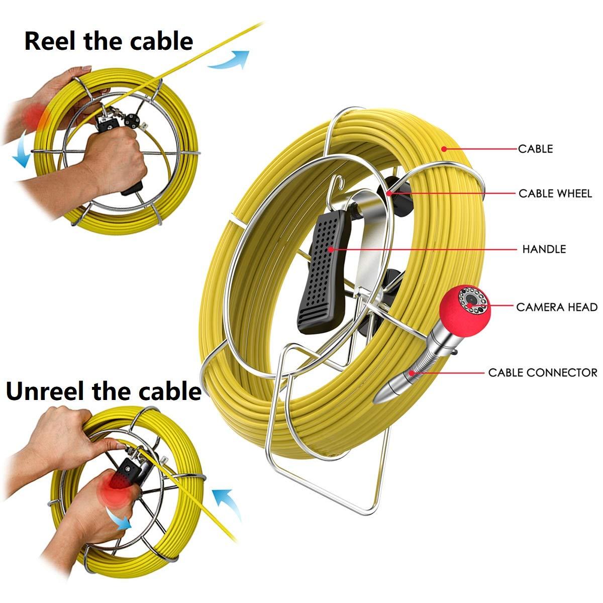 Avvolgicavo da 50 metri accessorio di ricambio per telecamera di ispezione tubi PRANITE 7D1