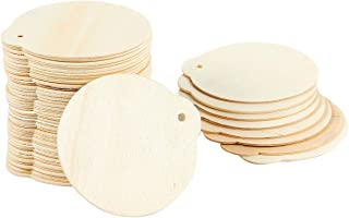 Juvale 48-Pack Wood Discs - Wooden Ornaments, Wood Circles for DIY Decoration, Craft Ornaments, Brown - 2.8 x 0.08 x 3 Inches Each