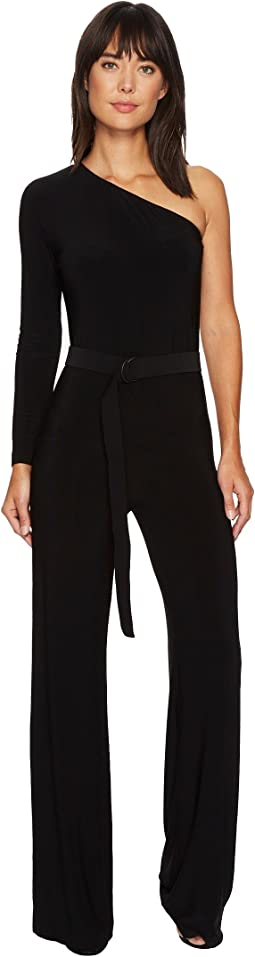 KAMALIKULTURE by Norma Kamali One Shoulder Jumpsuit with Mid Belt