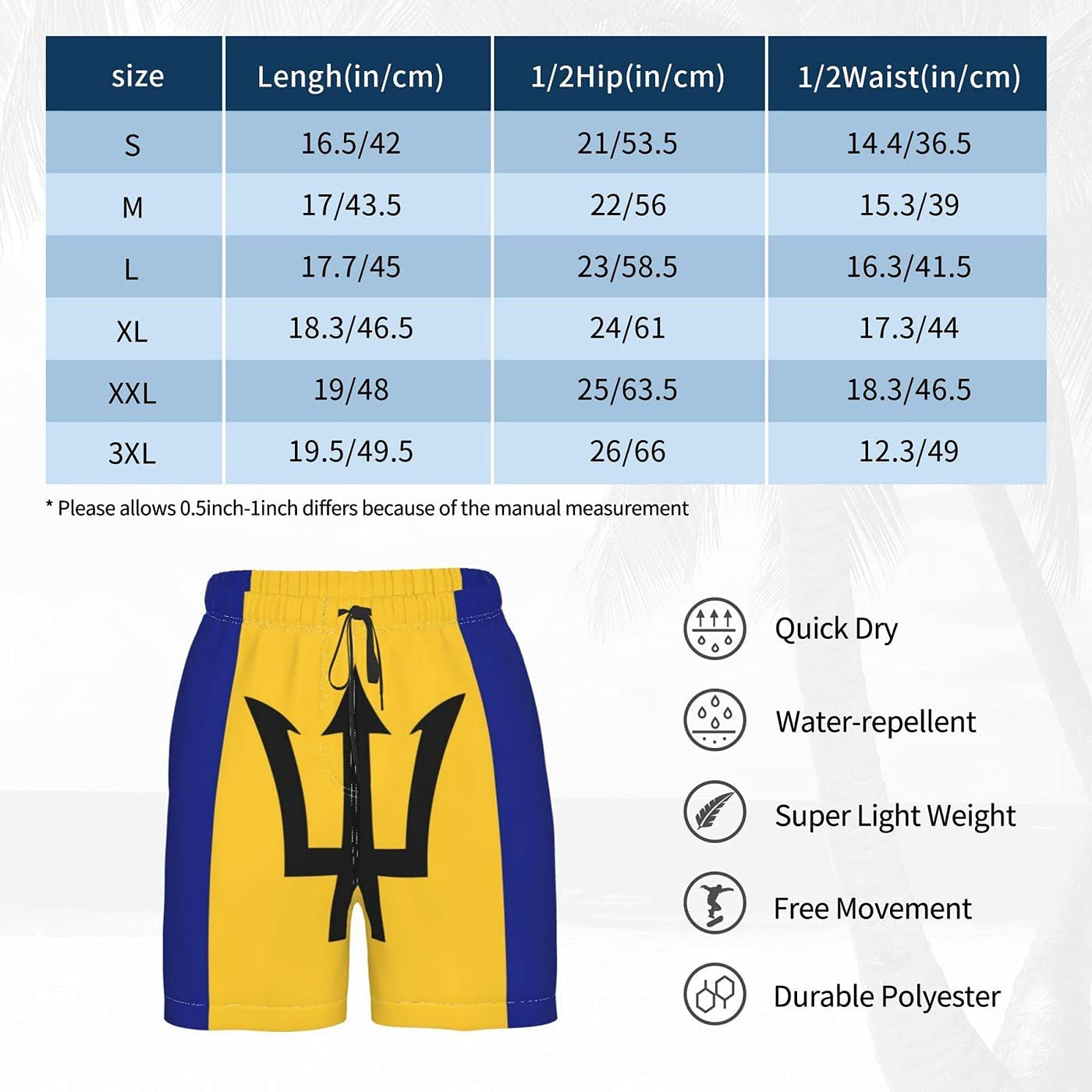 Count Barbados Flag Men's 3D Printed Funny Summer Quick Dry Swim Short Board Shorts with