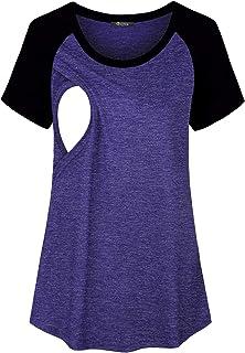 bbf5e2da981a7 Quinee Womens Short Sleeve Maternity Nursing Tops Raglan Breastfeeding  Shirts