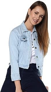 Shocknshop 3/4th Sleeve Comfort Fit Regular Sky Blue Denim Turn-Down Jacket for Women (JKT01)
