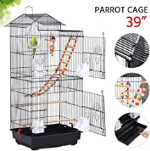 Yaheetech 39-inch Roof Top Large Flight Bird Cage for Small Quaker Parrot Cockatiel Sun Parakeet Green Cheek Conure Budgie Finch Lovebird Canary Pet Bird Cage w/Toys