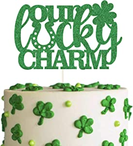 Green Glitter Our Lucky Charm Cake Topper, St. Patricks Gender Reveal Cake Decor, Irish March Baby Shower Decoration, St. Patricks Day Supplies