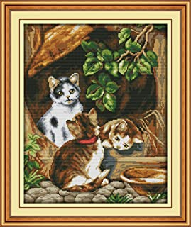 YEESAM ART New Cross Stitch Kits Advanced Patterns for Beginners Kids Adults - Cute Brown Cats Family - DIY Needlework Wedding Christmas Gifts (Cat A, Stamped)