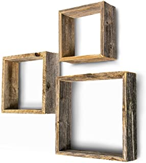 BarnwoodUSA Rustic Shelves, Square Floating Wood Shadowbox, Home Decor, Set of 3 (Natural..