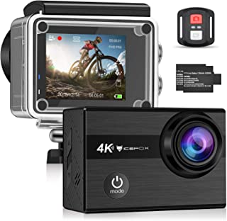 Icefox F60 Cámara Deportiva 40 M Waterproof 4K Ultra HD 20 MP Action Camera – Ángulos de 170 ° WiFi con Estabilizador EIS de Video y Batería Dual 1350 mAh