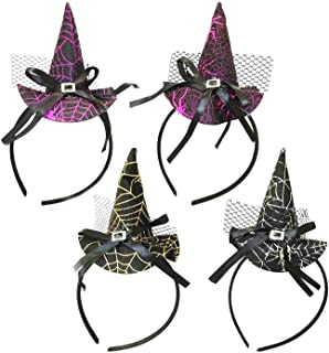 Mini Witch Hat Headband for Toddler Baby Kids - Halloween Costume Accessories Photo Props - Assorted Color, 4 pcs
