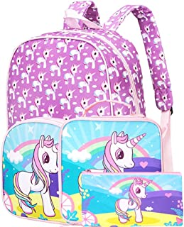 "3PCS Preschool Backpack Girls, 15"" Unicorn Backpacks and Lunch Box"