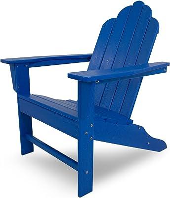 POLYWOOD ECA15PB Long Island Adirondack Chair, Pacific Blue