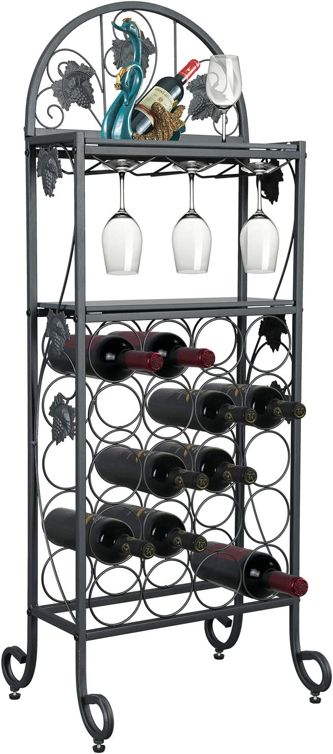 Petiture 20 大規模セール Wine Rack Table with Holder Fl Glasses Freestanding デポー