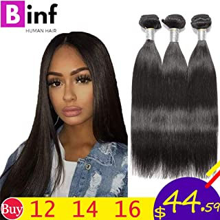 BINF Hair 8A Brazilian Virgin Hair Straight 3 Bundles Deal 12 14 16 Inches 100% Unprocessed Silky Straight Human Hair Bundles Hair Weaves Extensions Double Weft Natural Color