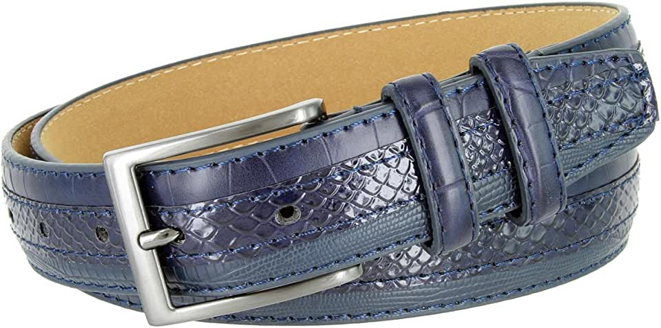 Genuine Leather Belt with Alligator, Lizard and Snake Skin Embossing Office Career Dress Belt