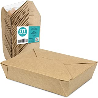 49 OZ 8.5 x 6 x 2 Disposable Paper Take Out Food Containers, Microwaveble Folding Natural Kraft To Go Boxes #2 [50 Pack]