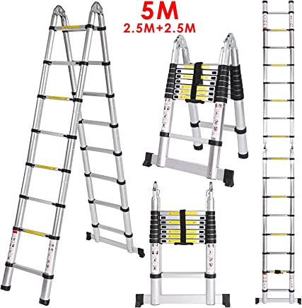 EN131 Zertifiziert 6.56ft ZHIRONG Teleskopleiter Mit Abnehmbarem Haken Aluminiumlegierung Falten Erweiterbare Erweiterungsleiter 330Lb Kapazit/ät gr/ö/ße : 2m