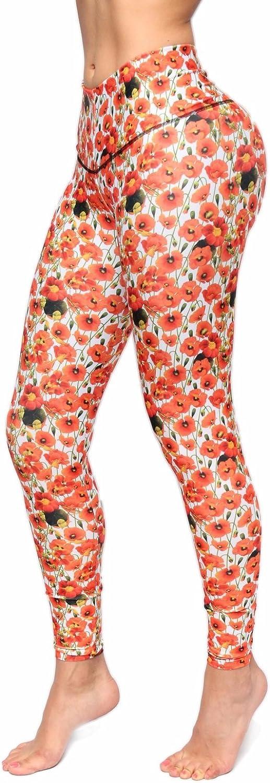 Bon Bon Up Girls orange Flower Pattern Printed Leggings with Slim and Tone Control