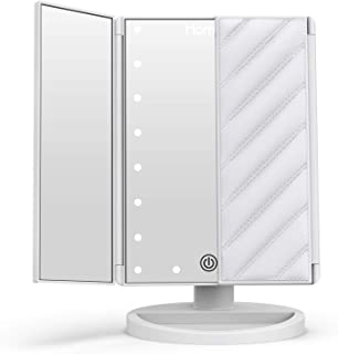 HOMEVER 21 Luces LED Interruptor de Sensor táctil,Bolan Espejo de Maquillaje Iluminado 2X/3X de Aumento Espejo de tocador Tri-Fold Espejo de Mesa con,180 Grado de Rotación Coméstico con Mostrador
