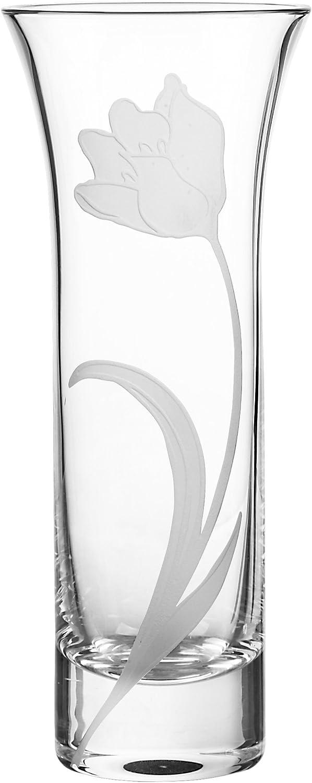 Qualia Glass Q401402 Bouquet Tulip Vase, Clear, 10