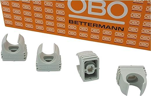 50x OBO Bettermann M16 Quick-Schellen | Klemmschelle | Rohrschelle | anreihbar | lichtgrau | 16mm | 50 Stück