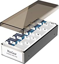 MaxGear Business Card Holder Box Business Card Box Business Card File Business Card Storage Business Index Card Organizer, Capacity: 800 Cards, Card Size: 2.2 x 3.6 inches, A-Z Index, Metal Structure