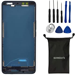 (Metallic Material) sunways Mid Frame with Adhesive for Battery Case+ Waterproof Adhesive +Volume Button + Power Button Replacement for HTC U11 Eyes(Black)
