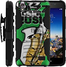 TurtleArmor | Compatible with Huawei Pronto Case | Huawei SnapTo Case | H891L [Hyper Shock] Heavy Impact Proof Absorber Silicone Case Kickstand Belt Clip Music - Jazz Saxophone