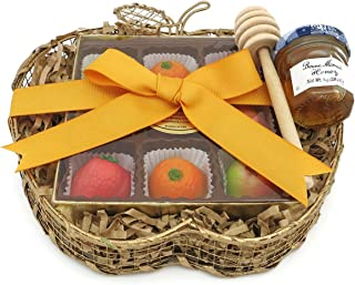 Apple Shaped Rosh Hashanah Basket with Marzipan Fruit and Honey