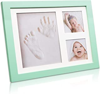 Trees&Forrest Baby Hand and Footprint Picture Frame Kit with Non Toxic Clay Baby Footprint Kit for Baby Shower Gifts Newborn Baby Keepsake Green