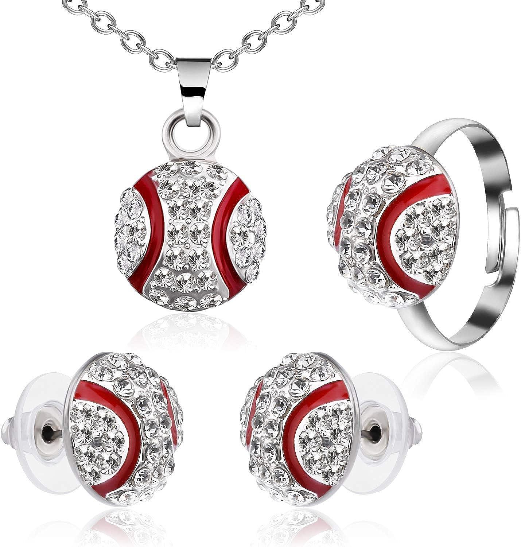 CHENGU Baseball Jewelry Set Baseball Earrings Stud Necklace Adjusting Ring for Baseball Fans Player Gifts
