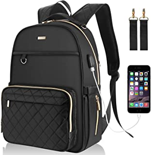 Landici Diaper Bag Multifunction Waterproof Travel Backpack Nappy Changing Pad Storage Bag for Mom Dad Baby Boy Girl with Ipad Compartment,Insulated Pockets,USB Charging Port,Stroller Straps,Black
