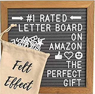 Felt Effect Changeable Wooden Letter Board - 10x10 in. Walnut Wood Frame - White Letters and Storage Bag - Home Decor Wall Sign for Family Baby Picture Gifts - Office Message Signs and Kids Classroom