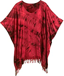 Boho Hippie Tie Dye Tunic Blouse Kaftan Plus Size Top XL to 4X