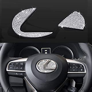 Bling Bling Car Steering Wheel Decorative Diamond Sticker Fit For Lexus, DIY Bling Car Steering Wheel Emblem Logo Badge Fo...