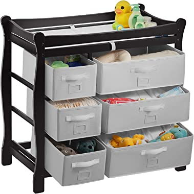 Kealive Baby Changing Table, Wood Diaper Changing Table with 6 Drawers, Nursery Changing Table Dresser with Change Pad and Safety Strap for Baby, Black