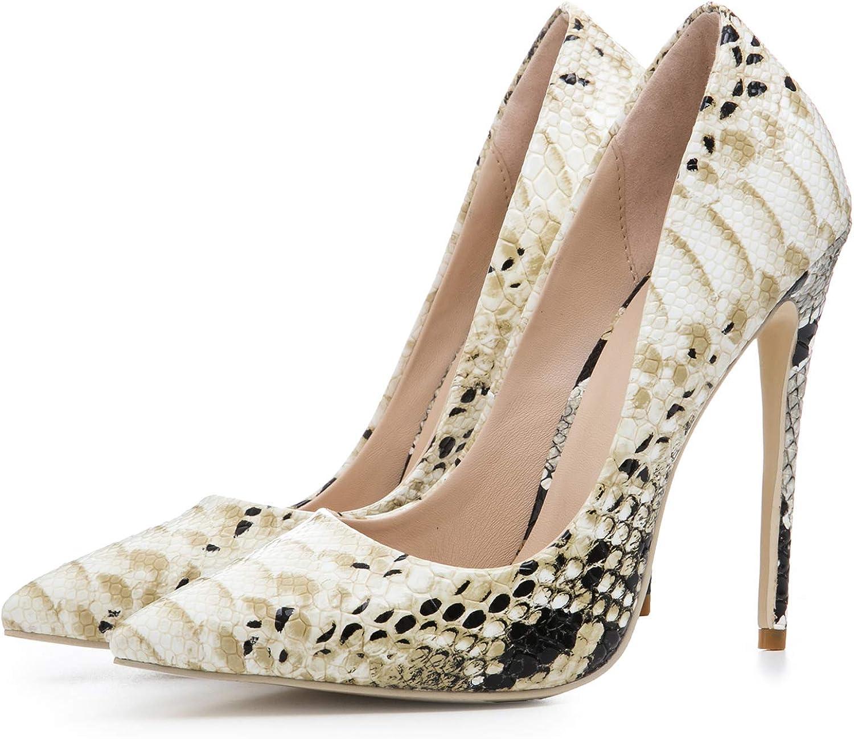 HEETIST Women's Sexy Pointed Toe Stiletto High Heels Snakeskin Wedding Dress Party Pumps