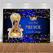 Mocsicka Princess Baby Shower Photo Backdrop 7x5ft Welcome Little Prince Dark Skin Boy Royal Blue Baby Shower Backdrops Gold Dots Crown Baby Boy Photography Background